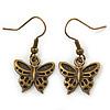 Bronze Tone Small Butterfly Drop Earrings - 30mm L