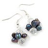 Peacock Freshwater Pearl, Clear Crystal Cluster Drop Earrings In Silver Tone - 40mm L