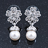 Bridal/ Wedding/ Prom Silver Tone Clear Crystal, 9mm Simulated Pearl Flower Drop Earrings - 30mm L