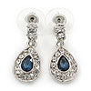 Clear/ Montana Blue CZ Teardrop Earrings In Rhodium Plating - 25mm L