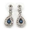 Clear/ Montana Blue CZ Teardrop Earrings In Rhodium Plating - 25mm L