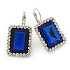 Dark Blue/ Clear CZ Square Drop Earrings With Leverback Closure In Rhodium Plating - 35mm L