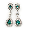 Bridal/ Wedding/ Prom Emerald Green/ Clear CZ Teardrop Earrings In Rhodium Plating - 50mm L
