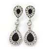 Bridal/ Wedding/ Prom Black/ Clear CZ Teardrop Earrings In Rhodium Plating - 50mm L