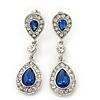 Bridal/ Wedding/ Prom Royal Blue/ Clear CZ Teardrop Earrings In Rhodium Plating - 50mm L
