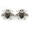 Quirky Black/ Clear Austrian Crystal 'Fly' Stud Earrings In Rhodium Plating - 23mm W