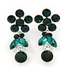 Delicate Emerald Green Crystal Flower & Butterfly Drop Earrings In Rhodium Plating - 35mm L