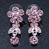 Delicate Pink Crystal Flower & Butterfly Drop Earrings In Rhodium Plating - 35mm L
