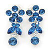 Delicate Sky Blue Crystal Flower & Butterfly Drop Earrings In Rhodium Plating - 35mm L