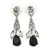 Clear/ Black CZ, Crystal Drop Sensation Earrings In Rhodium Plating - 37mm L