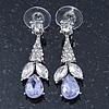 Clear/ Amethyst CZ, Crystal Drop Sensation Earrings In Rhodium Plating - 37mm L