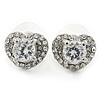 Clear CZ Crystal Heart Stud Earrings In Rhodium Plating - 15mm W