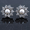 Teen Small Crystal, Simulated Pearl 'Flower' Stud Earrings In Rhodium Plating - 15mm D