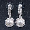 Bridal/ Wedding/ Prom Silver Tone Clear Crystal, Simulated Pearl Flower Linear Earrings - 35mm L