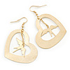 Open Cut Heart With Dangling Swallow Drop Earrings In Gold Tone - 60mm L