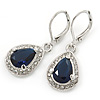 Montana Blue/ Clear CZ Drop Earrings With Leverback Closure In Rhodium Plating - 33mm L