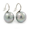 12mm Bridal/ Wedding Lustrous Grey Round Pearl Style Earrings In Silver Tone - 24mm L