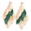 Long Gold/ Green Textured Leaf Chandelier Earrings In Gold Tone - 11cm L