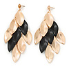 Long Gold/ Black Textured Leaf Chandelier Earrings In Gold Tone - 11cm L