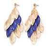 Long Gold/ Purple Textured Leaf Chandelier Earrings In Gold Tone - 11cm L