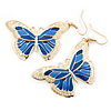 Lightweight Blue Enamel Butterfly Drop Earrings In Gold Tone - 60mm L