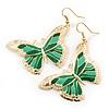 Lightweight Green Enamel Butterfly Drop Earrings In Gold Tone - 60mm L