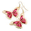 Lightweight Pink Enamel Butterfly Drop Earrings In Gold Tone - 60mm L