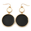 White/ Black Enamel Double Disk Drop Earrings In Gold Tone - 55mm L