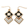 Black/ Silver Two Square Drop Earrings In Gold Tone - 40mm L