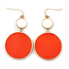 White/ Orange Enamel Double Disk Drop Earrings In Gold Tone - 55mm L