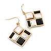 Black/ Silver Glass Bead Square Geometric Drop Earrings In Gold Tone - 40mm L
