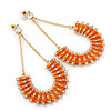 Statement Orange Bead, Crystal Chain Teardrop Earrings In Gold Tone - 85mm L