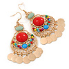 Multicoloured Acrylic Bead Chandelier Earrings In Gold Plating - 80mm L