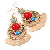 Multicoloured Acrylic Bead Chandelier Earrings In Gold Plating - 80mm L