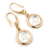Gold Tone Crystal Round Drop Earrings - 30mm L
