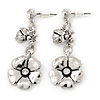 Flower and Ladybug Drop Earrings In Polished Rhodium Plating - 45mm L