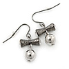 Crystal, Bead Bow Drop Earrings In Gunmetal - 30mm L