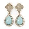 Light Blue Glass Crystal Teardrop Earrings In Gold Tone - 45mm L