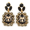 Gold Tone Black/ Hematite Crystal Spider Drop Earrings - 50mm L