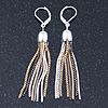 Stylish Tassel Earrings With Leverback Closure (Silver/ Gold/ Gun Metal) - 65mm L