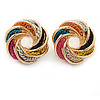 Multicolored Chain Knot Stud Earrings In Gold Tone - 20mm Across