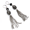 Vintage Inspired Crystal, Filigree, Tassel Drop Earrings With Leverback Closure In Burnt Silver Tone - 90mm L