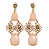 Pale Pink/ Light Olive Acrylic Bead, Austrian Crystal Chandelier Earrings In Gold Tone - 90mm L
