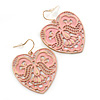 Light Pink Lacy Heart Drop Earrings In Gold Tone - 50mm L