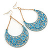 Blue Lacy Crescent Chandelier Earrings In Gold Tone - 85mm L