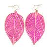 Deep Pink Enamel Etched Leaf Drop Earrings In Gold Tone - 75mm L