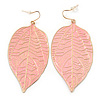 Baby Pink Enamel Etched Leaf Drop Earrings In Gold Tone - 75mm L