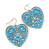 Light Blue Lacy Heart Drop Earrings In Gold Tone - 50mm L