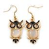 Gold Tone Black Enamel, Cat's Eye Stone Owl Drop Earrings - 45mm L