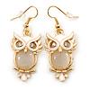 Gold Tone White Enamel, Cat's Eye Stone Owl Drop Earrings - 45mm L